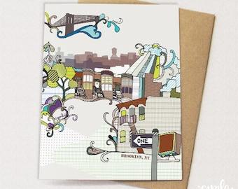 Brooklyn brownstone watercolor art print illustration brooklyn card brownstones brooklyn bridge water towers blank inside malvernweather Gallery