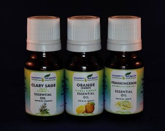 STRESS AWAY kit essential oils (Clary Sage, Orange, Frankinsense) 100% Pure Therapeutic grade