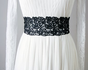 Wedding Sash Belt Bridal Sash Belt Black Sash Belt - Embroidery Lace Sash Belt - Wedding Dress Sashes Belts - Flower Girl Bridesmaid Sashes