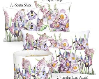 Violet Garden Party Square or Rectangular Lumbar Pillow Cover - Pillow 12x20 14x20 14x26 14x36 16x24 12x18 16x 18x 20x 22x 24x 26x 28x Inch
