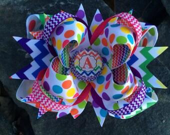 Chevron Polka Dot Personalized Initial Bottlecap Hairbow