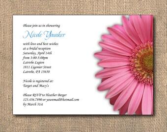 Bridal Shower Invitation, Wedding Invitaiton, Pink Gerber Daisy, Shower Invitation, PRINTABLE, 5x7