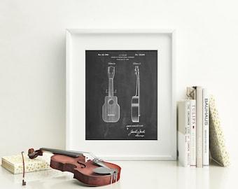Ukulele Patent Poster, Music Lover Gift, Ukulele Art, Guitar Wall Art, Music Room Decor, Guitarist, PP1117