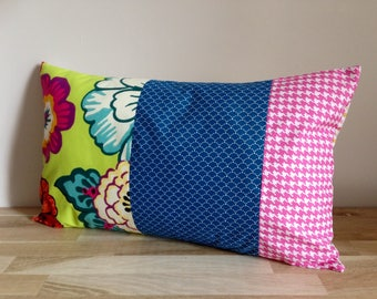 Cushion cover 50 x 30 cm of cotton, flowers, lime green, blue and fuchsia