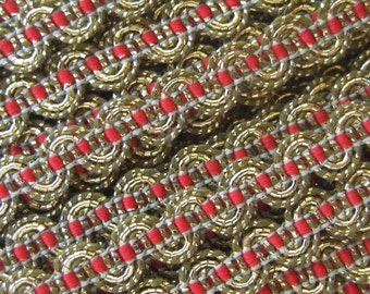 3 Yards Metallic Trim In Gold And Red Old Store Stock  VT 106