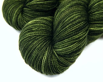 Hand Dyed Yarn, Sock Weight Superwash Merino Wool Yarn - Moss Tonal - Fingering Weight Sock Yarn, Tonal Olive Green Yarn, SMALLER SKEINS