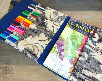 The Traveling Scribe's Holder - Coloring Book Carrying Case, Adult Coloring Hook Holder, Sketch Supplies Organizer