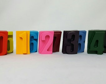 Number Crayons - Set of 10 - Coloring - Kids Birthday Gifts - Kids Party - Party Favors - Goody Bags - School Coloring - Kids Toys