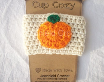 Handmade Crochet Coffee Cup Cozy/Sleeve/Holder Mason Jar Holder - Pumpkin
