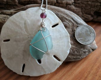 Blue Teal Sea Glass Pendant