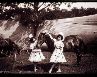 """Fred Glasier Photo, """"Two Girl Performers and Circus Horse"""", 1890-1925"""