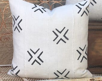 Tribal African Mudcloth Pillow in Traditional Large Double X Design    Boho Modern