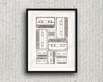 mixed tape vintage cassette tape art printable 8x10 art print (115AOWD) Mixed tapes Cassette tapes in shades of grey and black