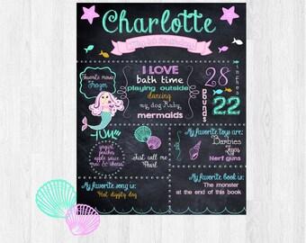 mermaid first Birthday Chalkboard Poster, baby chalkboard sign, Under the sea party decoration, nursery wall art, baby chalk board