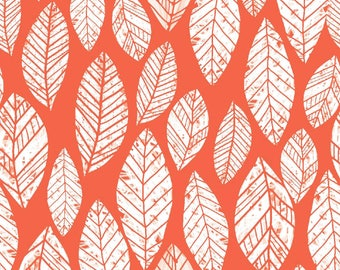 Summer Skies - Coral Leaves by Jenean Morrison from 3 Wishes Fabric