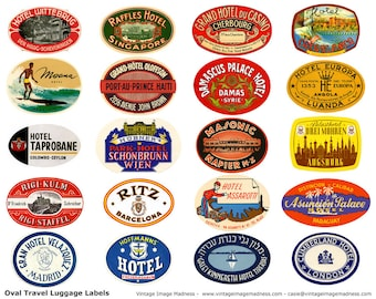 TRAVEL LUGGAGE STICKERS Vintage Travel Images - Instant Download Digital Collage Sheet
