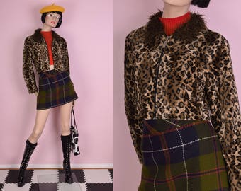 90s Shaggy Faux Fur Collar Fuzzy Leopard Print Cropped Jacket/ Small-Medium/ 1990s
