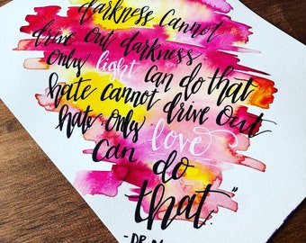 Custom 5x7 Calligraphy Watercolor Greeting Cards