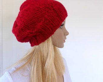 Red Chunky Knit beanie Slouchy hat Red Slouchy beanie Knit slouchy hat