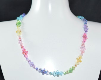 "Necklace ""Arc-en-ciel"" multicolored Swarovski crystal"