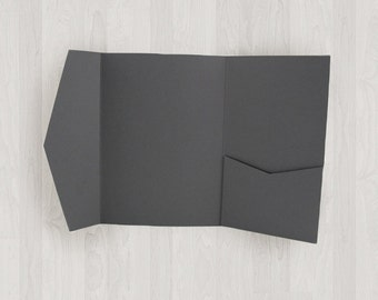 10 Large Vertical Pocket Enclosures - Gray, Black & Silver - DIY Invitations - Invitation Enclosures for Weddings and Other Events