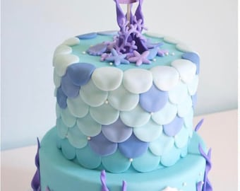 Mermaid Cake Topper, Under the Sea Mermaid Cake Topper, First Birthday Cake Topper, Mermaid Topper, Purple and Aqua Party, Mermaid Party