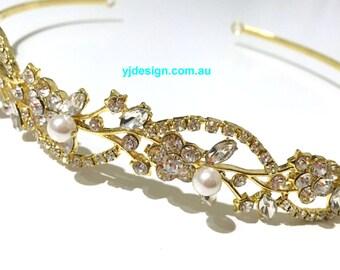 Gold Bridal Tiara, Vines Bridal Headband, Grecian Bridal Halo, Leaves Bridal Crown, Crystal Pearl Wedding Headpiece, Gift for Her, ADORNA