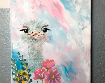 Ostrich Painting / Acrylic Paint / Home decor / 11x14