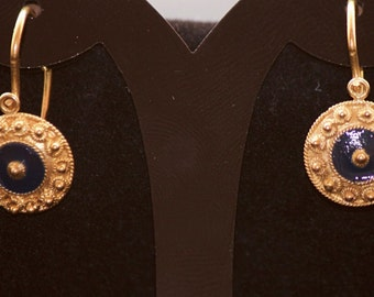 Antique Pure Solid Gold 19.2k Earrings with Enamel From Portugal