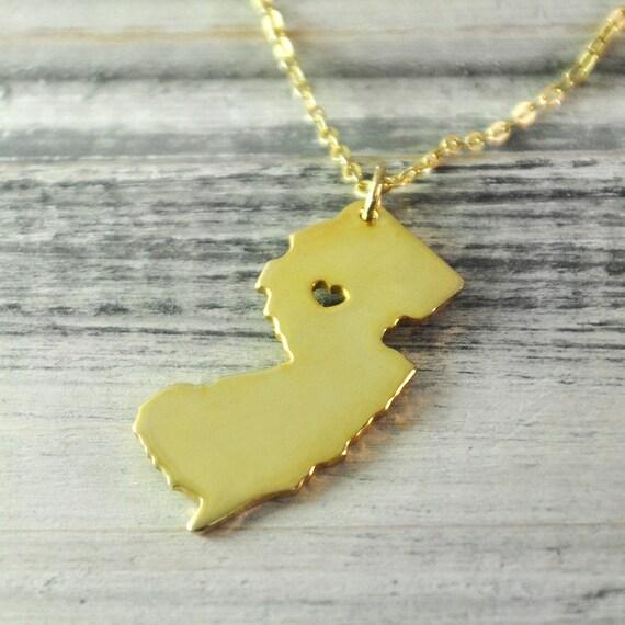 18k gold pendant necklaces finder i heart new jersey necklace new jersey pendant 18k gold plated state necklace state pendant map aloadofball Images