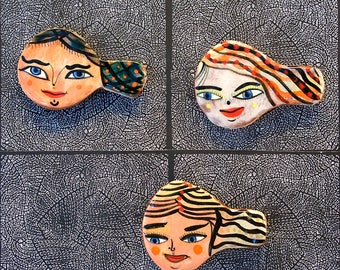 Three Swimmers Shaped Refrigerator Magnets by Jenny Mendes