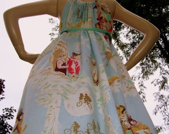ET Geek Sundress Upcycled Vintage 1982 Fabric Mini Tunic dress Convertible Adult Alien Aline Mom Party Dress M L XL Plus Size