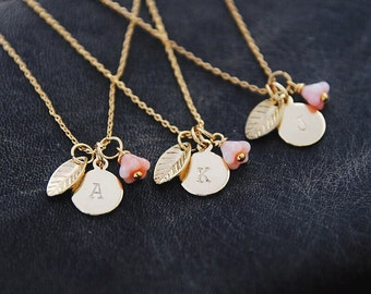 Gold Initial Necklace, Personalized Necklace, Bridesmaids Gift, Monogram Jewelry