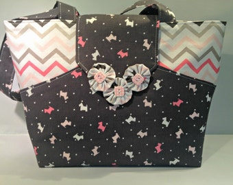 Scottie Dogs and Chevron Bag or Purse with Pockets in Shades of Pink and Gray