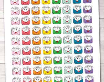 Printable Kawaii Happy Mail Planner Stickers PDF Instant Download Printable Planner Sticker Kit