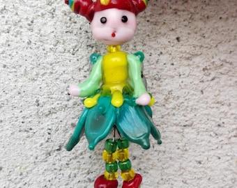 "Lampwork pendant "" Flower fairy""  Hand Made Lampwork"