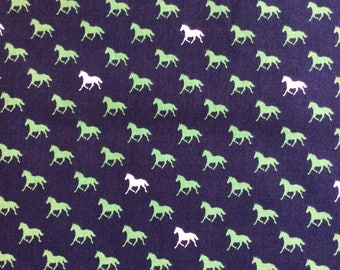 Derby Horses in Navy - cotton fabric - half yard or more