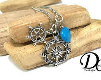 Sailor's Compass Charm Necklace Silver Compass Necklace Travel Necklace Wanderlust Nautical Charm Turquoise Charm Silver Helm Charm GIft