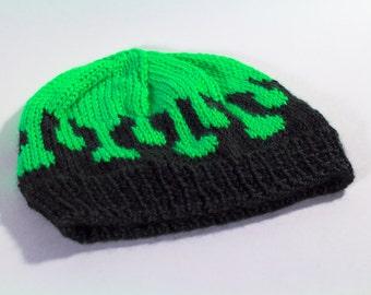 Neon Cthulhu Slime Handknit Beanie