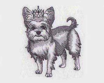 Yorkshire Terrier en couronne torchon | Broderie torchon | Broderie serviette de cuisine | Brodé serviette | Serviette de cuisine personnalisé