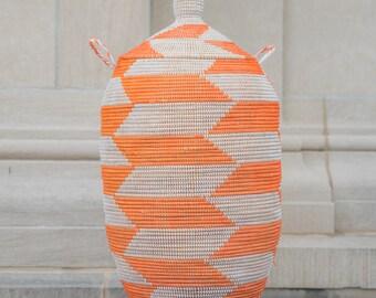 Orange & White Extra Large Laundry African Basket