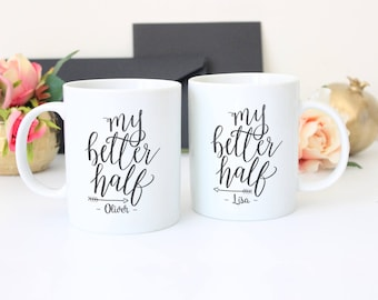Personalised Hand Lettered  My Better Half Couples Mug Gift Set Gift Boxed