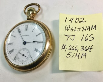 1902 Waltham Pocket Watch 7J 16S 51mm Gold Filled Case