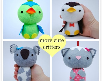 More Cute Critters - PDF Sewing Pattern for Easy to Sew Felt Plush Animals