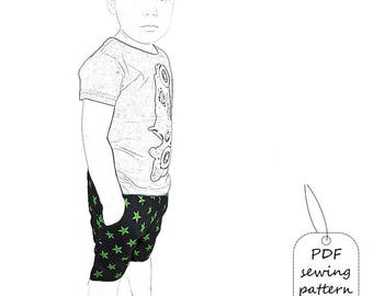 Kids shorts pattern pdf, boys shorts pattern, kids sewing pattern