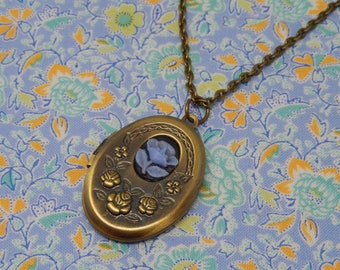 Antique Oval Rose Cameo Locket Necklace