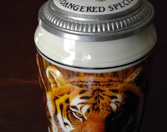 Budweiser Endangered Species Asian Tiger Beer Stein C. 1989 #55317