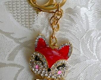Oriental red fox Cute Rhinestone Crystal Purse Bag Key Chain Gift