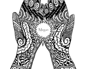 Personalised Mehndi Hands Giclee Print