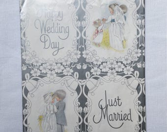 Vintage | Wedding | Bride & Groom | Sarah Kay/Holly Hobbie Style | Gift | Wrapping Paper #20